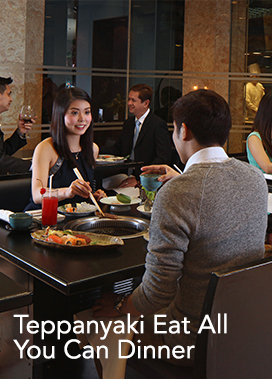 <p><strong>TEPPANYAKI Eat All You Can Dinner</strong></p> 				<ul> 					<li><span>&rsaquo; &nbsp;</span> Now only Php 2,100 nett per person From 5:30 pm to 7:30 pm only (1st Seating) (Valued at Php 2,800 nett per person)</li>  					<br>  					<li><b>Valid until Aug 10 - 17, 2016</b></li> 				</ul>